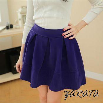 【ZARATA】立體挺拔百褶鬆緊褲頭厚絨布短裙(藍紫)
