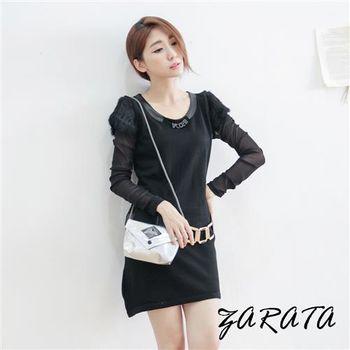 【ZARATA】圓皮質領肩毛袖雪紡連身皮帶洋裝(黑色)