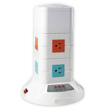 【勳風】3D多功能立式電源插座_2層 HF-315-2