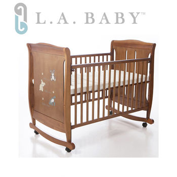 【美國 L.A. Baby】芝加哥搖擺大床/童床/木床/嬰兒床 (咖啡色)