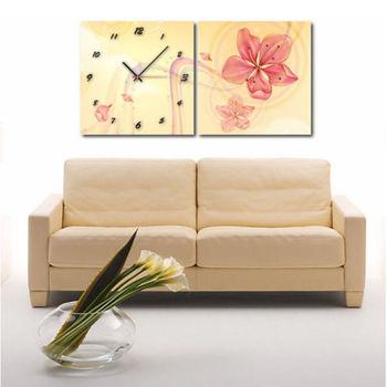 【TIME ART】靜音機芯二聯式時鐘 無框畫鐘 一畫一掛鐘 30*30*2.5cm  可訂製 S2-064