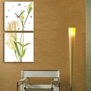 【TIME ART】靜音機芯二聯式時鐘 無框畫鐘 一畫一掛鐘 30*30*2.5cm  可訂製 S2-016