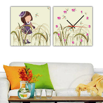 【TIME ART】靜音機芯二聯式時鐘 無框畫鐘 一畫一掛鐘 30*30*2.5cm  可訂製 S2-011