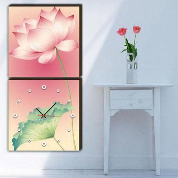【TIME ART】靜音機芯二聯式時鐘 無框畫鐘 一畫一掛鐘 30*30*2.5cm  可訂製 S2-006