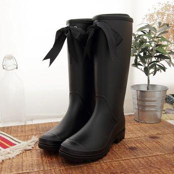 《DOOK》甜美女孩蝴蝶結長筒防水雨靴-黑色