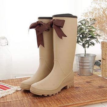 《DOOK》甜美女孩蝴蝶結長筒防水雨靴-米色