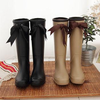 《DOOK》甜美女孩蝴蝶結長筒防水雨靴-2色