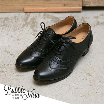 Bubble Nara 波波娜拉~ 池袋街拍牛津雕花粗跟鞋(黑色),東京連線,女大生氣質日本味,MIT牛津鞋