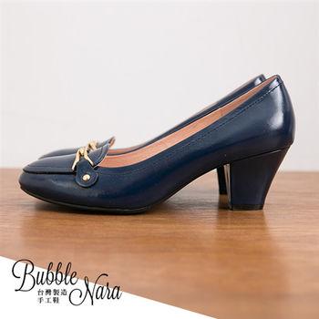 Bubble Nara 波波娜拉~ 曖曖內含光腳窩支撐高跟鞋藍色,可奔跑高跟鞋超軟厚底氣墊,MIT真皮鞋