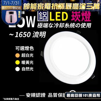 《Kiss Quiet》 台製品質-白光/黄光/自然光15W亮度12W功耗玻璃LED崁燈 15公分崁孔含變壓器-1入