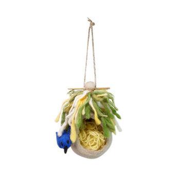 日本 Detail 羊毛氈 鳥巢 置物處  (藍鳥)
