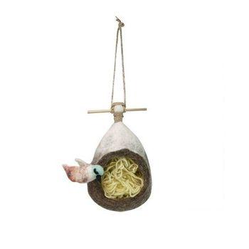 日本 Detail 羊毛氈 鳥巢 置物處  (白鳥)