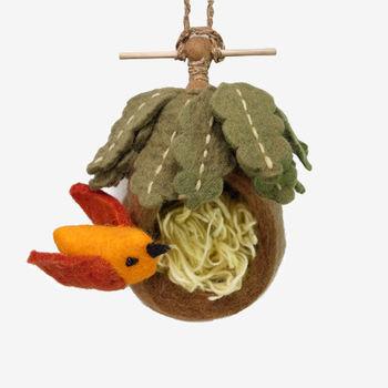 日本 Detail 羊毛氈 鳥巢 置物處 (橘鳥)