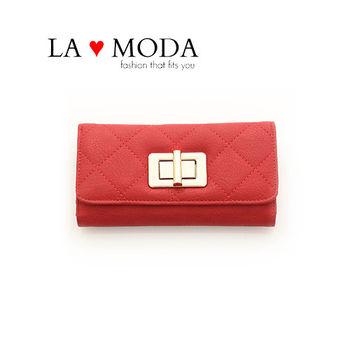 LAMODA歐美旋轉鈕扣經典同款皮革質感復古手拿皮夾長夾 UAW126紅色