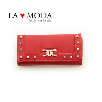 LAMODA歐美經典同款皮革質感復古手拿皮夾水鑽長夾 UAW134紅