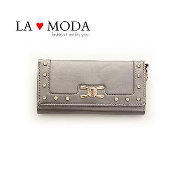 LAMODA歐美經典同款皮革質感復古手拿皮夾水鑽長夾 UAW134銀