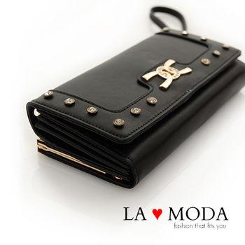 LAMODA歐美經典同款皮革質感復古手拿皮夾水鑽長夾 UAW134黑