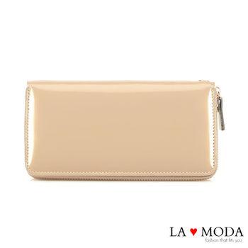 LAMODA真皮 經典品牌同款長夾 漆皮 手拿皮夾(漆皮金)
