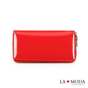 LAMODA真皮 經典品牌同款長夾 漆皮 手拿皮夾(漆皮紅)