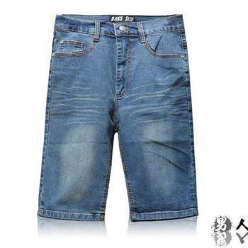 【男人幫】K0384*美式休閒風格【高磅厚面潮流原色水洗彈性牛仔褲短褲】加厚款