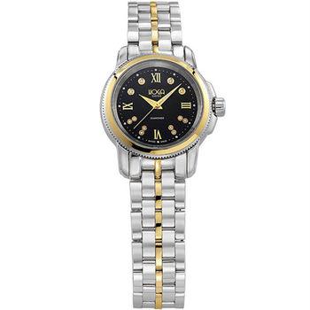 HOGA榮耀世家真鑽女錶-半金x黑-28mm