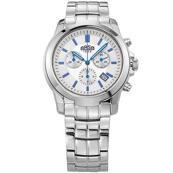 ARSA文藝復興全鋼三眼計時碼錶-銀白X藍釘-43mm