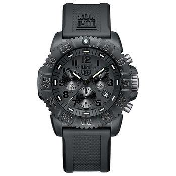 LUMINOX 雷明時 海豹部隊三眼計時 經典腕錶-黑/44mm A3081.BO