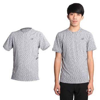【NEWBALANCE】男安全反光設計短袖T恤-慢跑 路跑 NB 圓領 條紋黑灰