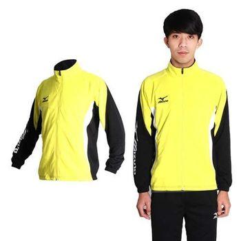 【MIZUNO】男拉鍊口袋設計針織運動外套- 美津濃 立領 黃黑
