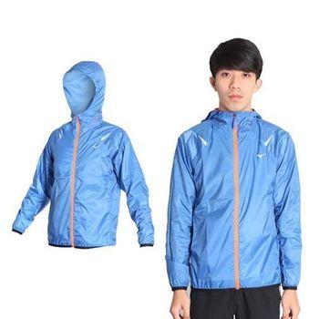 【MIZUNO】男路跑可收納風衣外套- 慢跑 防風 美津濃 藍螢光橘