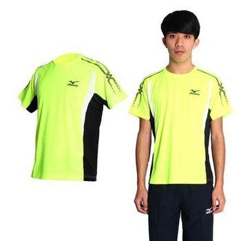 【MIZUNO】男短袖腋下透氣布料T恤- 慢跑 路跑 圓領 美津濃 螢光黃黑