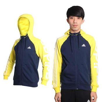 【ADIDAS】男吸濕快乾運動外套- 愛迪達 連帽外套 丈青黃白