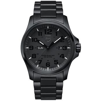 LUMINOX 雷明時戰場系列藍寶鏡面精鋼腕錶-PVD黑/45mm A1922.BOB