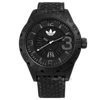 adidas 愛迪達 / ADH3042 / Originals 個性城市風暴真皮腕錶 黑色 48mm