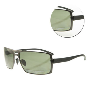 【PORSCHE DESIGN保時捷】墨綠長方銀框太陽眼鏡(P8446-D)