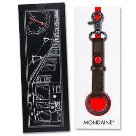 MONDAINE 瑞士國鐵牛皮雙扣環鑰匙圈-咖啡(XW-100402BN)