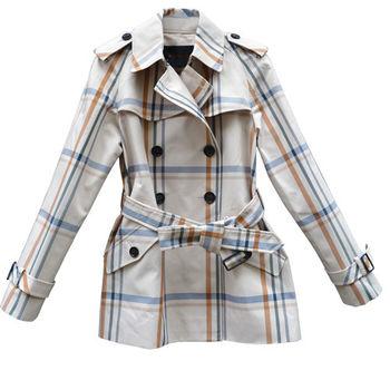 【COACH】米色雙排扣英倫風大格紋風衣