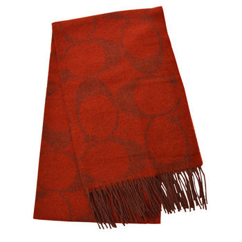 【COACH】羊毛流蘇LOGO C長圍巾 / 紅