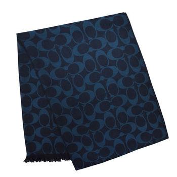 【COACH】經典羊毛真絲圍巾披肩 / 藍綠