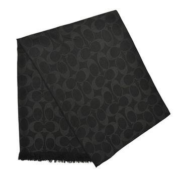 【COACH】經典羊毛真絲圍巾披肩 / 黑