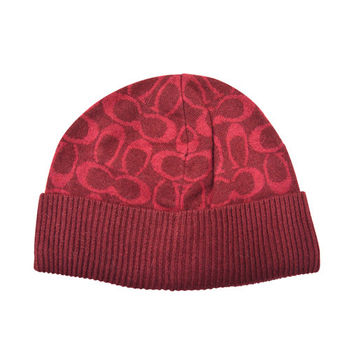 【COACH】秋冬新款羊毛毛線帽 / 紅