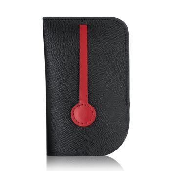 MONDAINE 瑞士國鐵隱藏式拉環牛皮鑰匙包-十字紋黑(XW-100348K1)