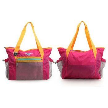 【MIZUNO】側肩袋-可收納 手提包 肩背包 旅行 桃紅橘