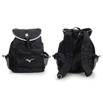 【MIZUNO】後背包-可收納 雙肩包 登山 旅行包 美津濃 黑銀