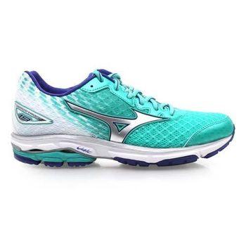 【MIZUNO】女慢跑鞋 WAVE RIDER 19- 路跑 慢跑 湖水綠白