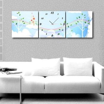 【TIME ART】靜音機芯三聯式時鐘 無框畫鐘 二畫一鐘掛鐘 60*60*3.5cm可訂製 S3-478