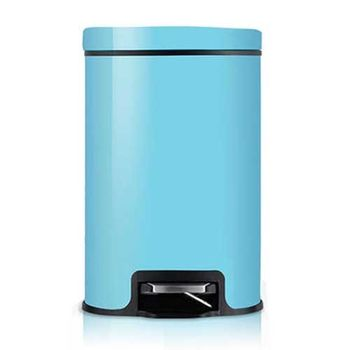 PUSH! 居家生活用品 colourful液壓緩降可固定垃圾袋垃圾桶 置物桶 8升(L)I16-2藍色
