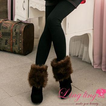 【lingling】內微微刷毛保暖彈力貼身內搭褲(百搭黑)A2638-01