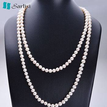 【Sarlisi】簡約大方珍珠毛衣鍊(珍珠白)
