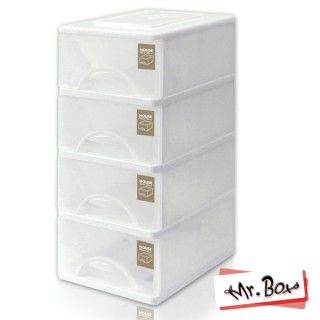 【MR.BOX】小純白四層收納櫃36L